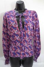FREE PEOPLE pink purple floral sexy deep V-neck tie knit sweater top shirt S