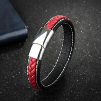 Concise Leather Bracelet For Men Braided Bangle Accessories Jewelry Gifts