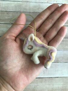 SALE 50% HANDMADE Wool Pink Purple UNICORN Christmas Ornament for Girl Organic