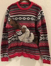 Blizzard Bay Men's Sloth Tree Funny Ugly Christmas Sweater, Red, XL - New