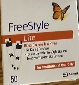 50 FreeStyle Lite Glucose Blood Test Strips  Exp 9/2022