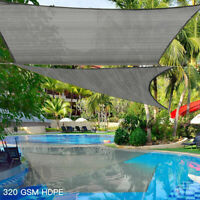 Extra Heavy Duty Sun Shade Sail 320gsm Square Rectangle Triangle Grey  #
