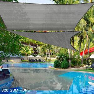 Extra Heavy Duty Sun Shade Sail 320gsm Square Rectangle Triangle Grey  #