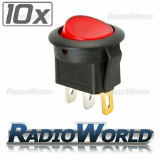 10x Red LED Illuminated Round Rocker Switch On/Off 12v 16A Car Van Dash Light