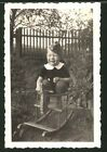 Photography 2.WK, Baby With Cap Der Armed Forces on Rocking Horse Seated