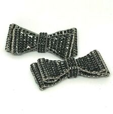 Vintage Shoes Clips Embellishments Bows with Rhinestones Silver Tone