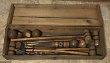 Vintage Antique Rare Wood Box Croquet Set With Balls, Mallets & Stakes w/ Case