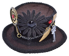 Brown Steampunk Mini Top Hat Fascinator on Hairclip Womens Fancy Dress Gothic BN