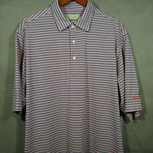 Donald Ross Striped Polo Golf Shirt, EUC - Men's XL - White, Blue, Orange, Black