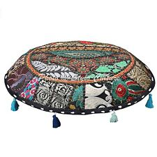 """Ethnic Floor Cushion Cover 22"""" Round Patchwork Embroidered Black Seat Tuffet"""