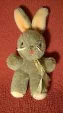 "Vintage 12"" Happiness Aid BUNNY RABBIT grayish tan plush stuffed animal 1985"