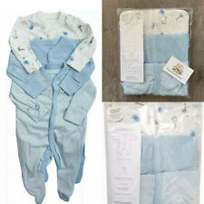 Mothercare Baby Animals Sleepsuits 3x Pack Babygrows Blue Boys Giraffe Rompers