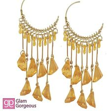Long Yellow Silver Tone Fashion Statement Earrings Chandelier Women Gift New