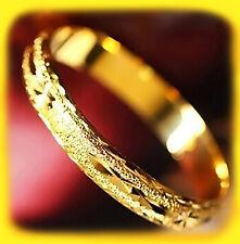 24k Yellow Gold Women's Bangle Bracelets Wide 10mm Italian Cut + GiftPack D257I
