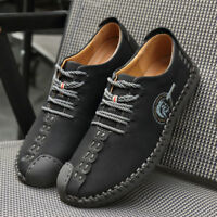 Hot Men British Handmade Classic Leather Oxford Flats Suede Casual Shoes Retro
