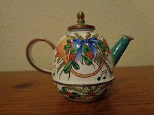 Kelvin Chen 1999 Enamel On Cooper Handpainted Teapot Calla Christmas  # US36