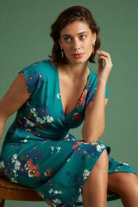 King Louie Kleid grün everglade green Lot Midi dress Pomoma 06107 Blumen Gürtel