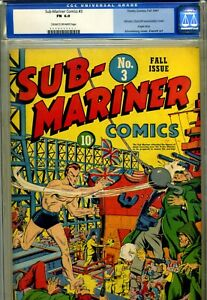 SUB-MARINER COMICS# 3 CGC 6.0 UNIVERSAL. OLD LABEL