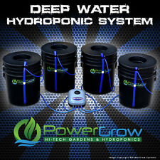 "Deep Water Culture System DWC Hydroponic PowerGrow 4 Bucket Kit - 6"" Basket Lids"