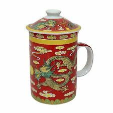 PORCELLANA CINESE Tazza da tè con infus. E COPERCHIO-RED DRAGON PATTERN