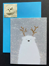Papyrus Christmas Holiday Small Cards Set 4 Polar Bear Deluxe Glitter Gold Seal