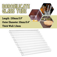 10Pcs 150mm*10mm*1.5mm Thick Borosilicate Tubing Glass Pyrex Blowing Tube Lab