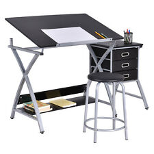 Tiltable Drawing Board Table Art Drafting Craft Study Desk Tabletop W/ Stool