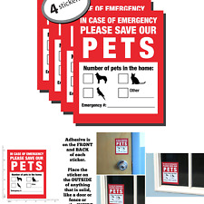Pet Inside Finder Sticker - 4 Pack - Adhesive on Front and Back. In a Fire Em.