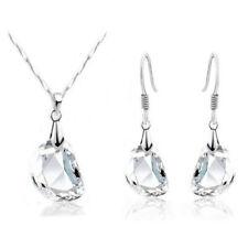 Fashion Clear Topaz Austrian Crystal Jewelry Set Pear Cut Earrings Necklace