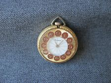 Vintage Lucerne Swiss Made enamel golden metal watch pendant for repair or spare