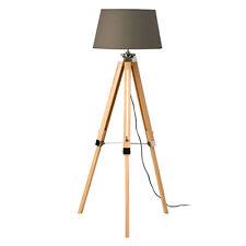 Illuminazione accattivante Home Office Treppiede Lampada GRIGIO Shade Light Wood base NUOVA