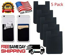 5x Black Silicone Credit Card Holder Cell Phone Wallet Pocket Sticker Adhesive