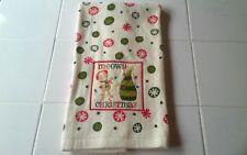 """St Nicholas Square Christmas Hand Towel Cat """"Meowy Christmas"""" 26.5x17"""""""