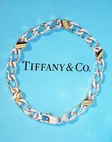 Tiffany & Co 18K 18Ct Sterling Silver Gold Link Bracelet