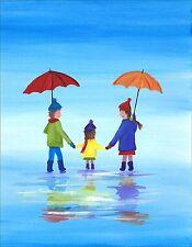 CSA ARTE firmato STAMPA DI PITTURA originale, i bambini da passeggio in Pioggia, UK Artist