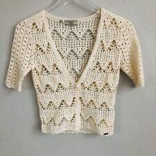 Guess Womens Cardigan Shrug Size XS Ivory Crochet Eyelet Short Sleeves Button