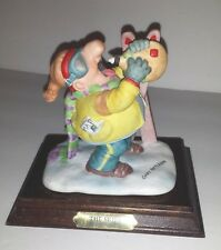 Vtg Gary Patterson THE SKIER Drinking ~ Ceramic Figurine Wood Base ~  Ski Club