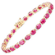 14 Yellow Gold Ruby White Diamond Bracelet 12.43 ct Oval Gemstone 7 inches