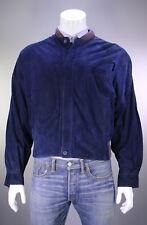 * GIANNI VERSACE * Vintage 80's Navy Blue Suede Leather Bomber Jacket~ Large