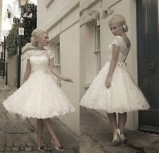 New White/Ivory Tea Lenghth Lace Wedding Dress Bridal Gown Size 6-16 UK