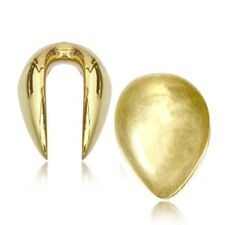 "PAIR 9/16"" INCH BRASS DROP EAR WEIGHTS PLUGS TUNNELS STRETCH GAUGE HOOPS"
