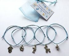 5 X Bracelets BABY SHOWER Feet pram blue charm adjustable cord Mum boy gift