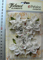 Textured Burlap IVORY Poinsettias x 5 flowers with Leaves 5-6cm across Petaloo
