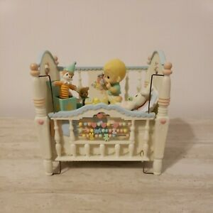 """Enesco Precious Moments Crib Action Music Box Heaven Bless You """"Brahms Lullaby"""""""