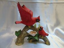 New listing Vintage Porcelain Cardinal Figurine Open Wing Perched on Branch W/ Baby Bird