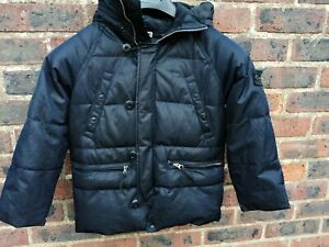 STONE ISLAND JUNIOR BOYS BLACK HOODED PARKA DOWN COAT CHEST 32 IN L 21 IN