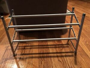 Expandable Space Saving Two Tier Chrome Bedroom Closet Shoe Rack For Heels