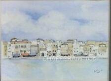 More details for early emma faull (b1956) ink,pen & watercolour landscape of chania crete 1983