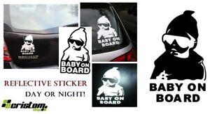 Baby On Board reflective White Black sticker Child Children Decal Window Bumper