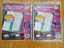 2 Packages of Avery 11196 Table of Contents Index Dividers 12 Tab, 6 Sets